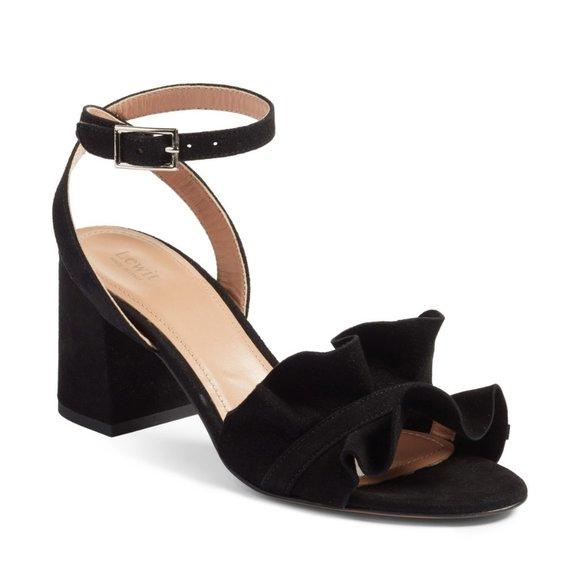 Lewit Shoes - Lewit Lucina Black Suede Ankle Strap Sandal Shoe